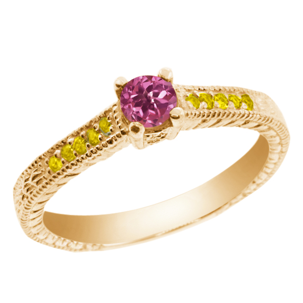 0.33 Ct Round Pink Tourmaline Simulated Citrine 18K Yellow Gold Engagement Ring by