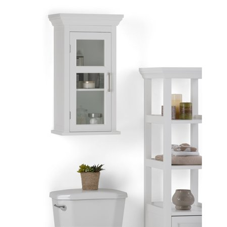 White Bathroom Furniture - WyndenHall  Hayes Single Door Bathroom Wall Cabinet in White