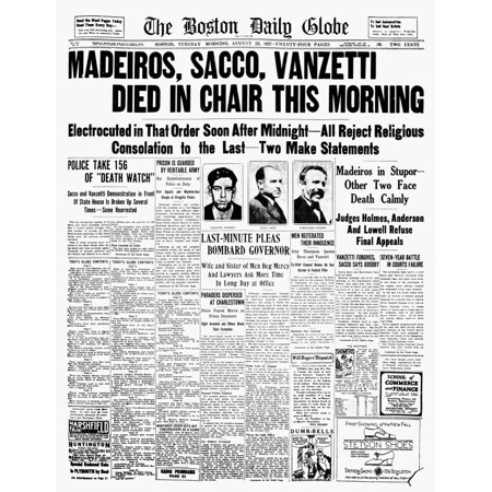 Sacco And Vanzetti 1927 Nthe Front Page Of The Boston Daily Globe On The Day Nicola Sacco Bartolomeo Vanzetti And Celestino Madeiros Were Executed 23 August 1927 Rolled Canvas Art     18 X 24