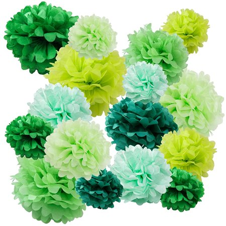 Floral Reef Paper Pom Poms Balls Birthdays Wedding Party Decoration Green Multi - 16 - Pom Pom Lights