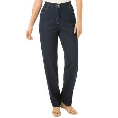 Woman Within Plus Size Back-elastic Straight Leg Cotton Jean