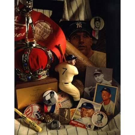 David Spindel Stretched Canvas Art - Mickey Mantle Mementos - Small 11 x 14 inch Wall Art Decor Size.