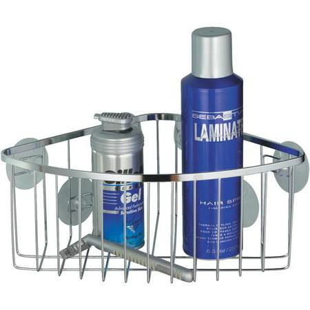 InterDesign Suction Attach Stainless Steel Bath / Shower Corner Basket Chrome 69102 Solid Stainless Steel Shower Basket