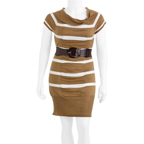 Women's Plus-Size Curvy Belted Sweater Dress