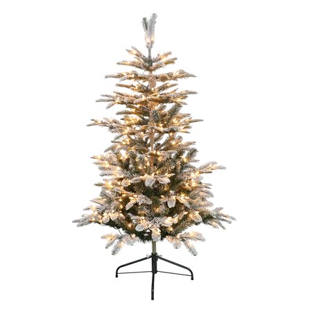 Puleo International 4.5 ft. Pre-Lit Flocked Aspen Fir Artificial Christmas Tree with 250 UL-Listed Clear Lights ()