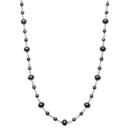 3-4mm and 5-6mm Dyed Black Cultured Freshwater Pearl Sterling Silver Tin Cup Necklace, (Bronze Freshwater Pearl Necklace)