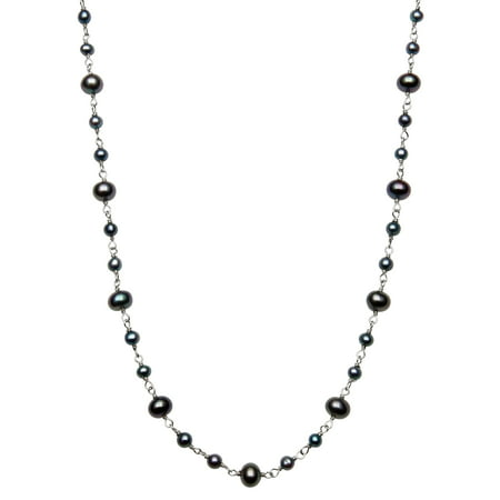 3-4mm and 5-6mm Dyed Black Cultured Freshwater Pearl Sterling Silver Tin Cup Necklace, 18