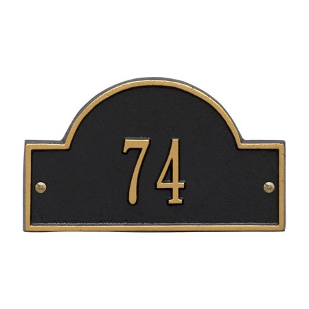 Personalized Whitehall Products Petite One-Line Arch Marker Address Plaque in Black/Gold ()