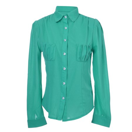 S/M Fit Granny Apple Green L/S Pocketed Chiffon Button Down Blouse](Granny Suit)