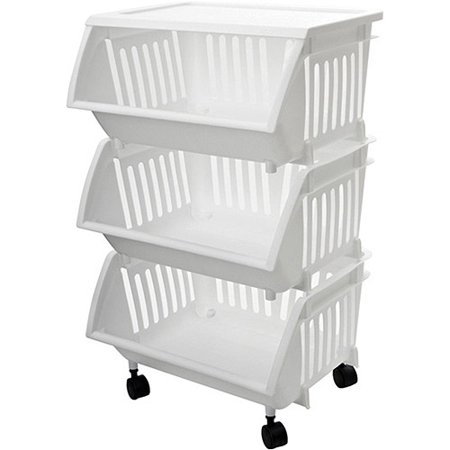 Three-Tier Mobile Cart, White Basics Mobile Technology Cart
