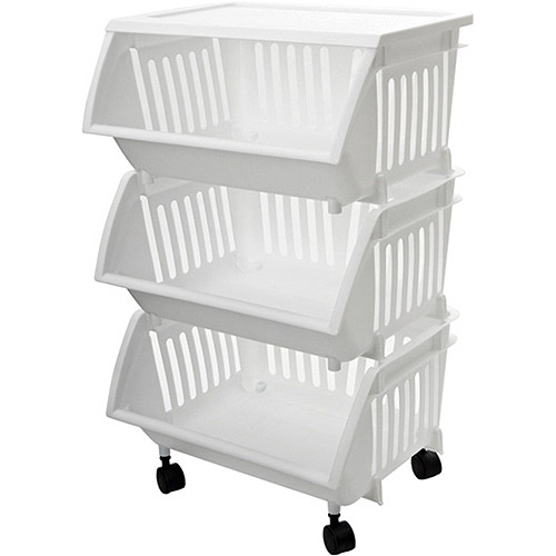 Three-Tier Mobile Cart, White