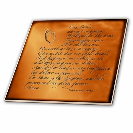 3dRose The Lords Prayer Matthew 6 9 13 Prayer Hands and verse embossed on copper - Ceramic Tile, 4-inch