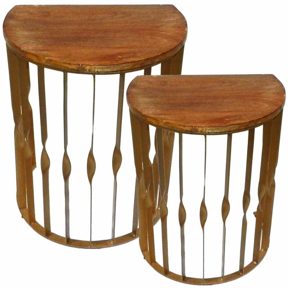 Wood/Metal Side Table, Brown, Set Of 2