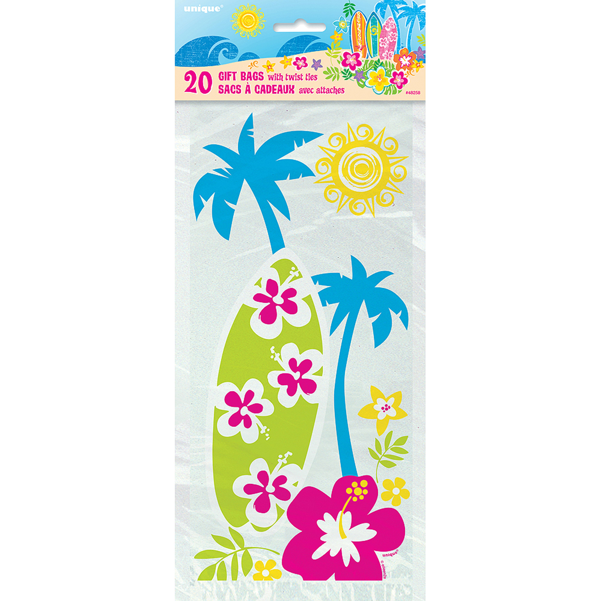 Hula Girl Luau Party Cellophane Bags, 20-Count
