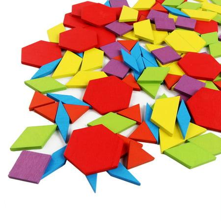 155PCS motif en bois bloc forme géométrique créative puzzle jouet jouet éducatif - image 5 de 10