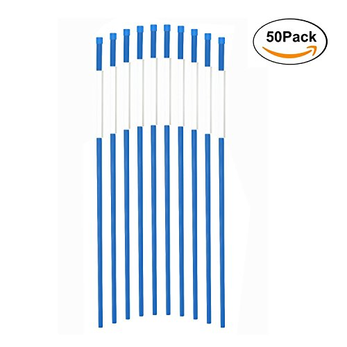 FiberMarker Snow Markers 48-Inch Driveway Reflectors Snow Stakes 5/16Inch Diameter Blue, 50 Pack