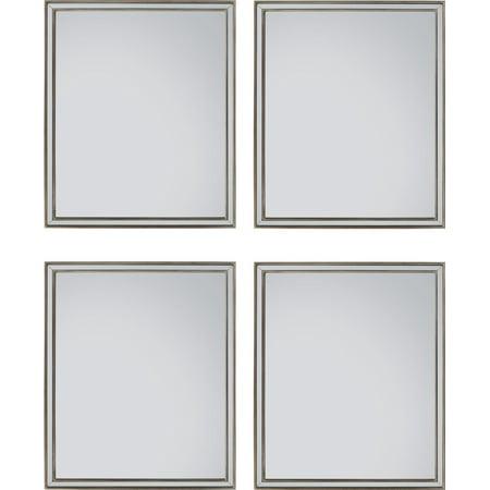 Wall Mirror JOHN-RICHARD Antique Silver Set 4 Wood Moldings Frame Bevele