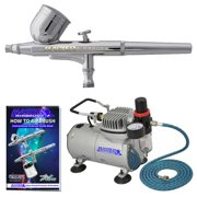 Master Airbrush Dual Fan Air Compressor System Kit with a G22 Gravity Feed Dual-Action Airbrush Set with 0.3 mm Tip