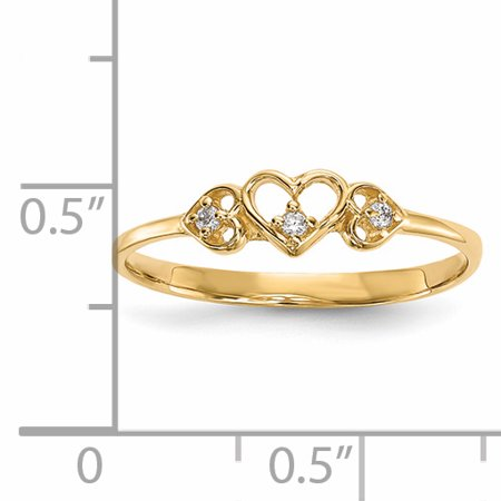 14k Yellow Gold Cubic Zirconia Cz 3 Hearts Band Ring Size 7.00 S/love Fine Jewelry For Women Valentines Day Gifts For Her - image 4 of 8