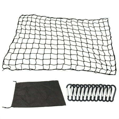 4'x6' Luggage Net Bungee Cargo Net Strech Super Duty Mesh Holds Adjustable Hooks for Rooftop Cargo (Carrier Net)