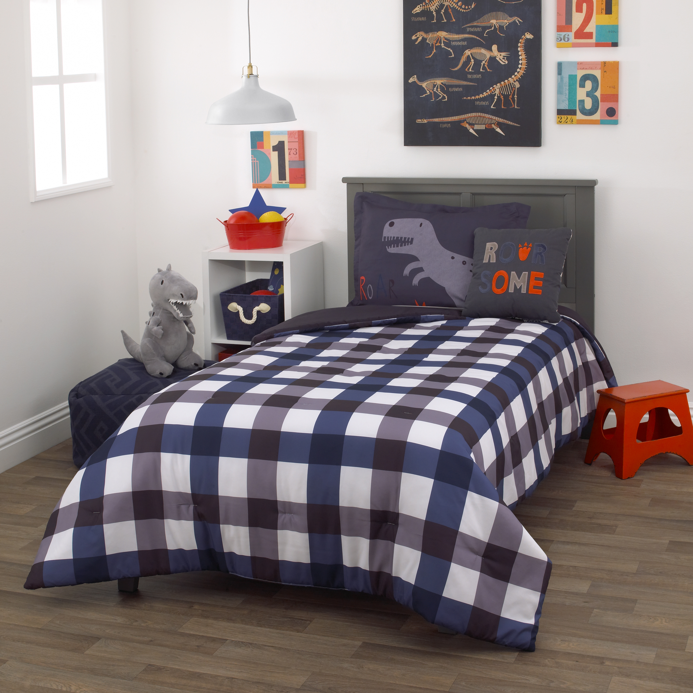 Everything Kids Roarsome Grey And Navy 2 Piece Twin Bedding Set 1 Twin Comforter 1 Pillow Sham Walmart Com Walmart Com