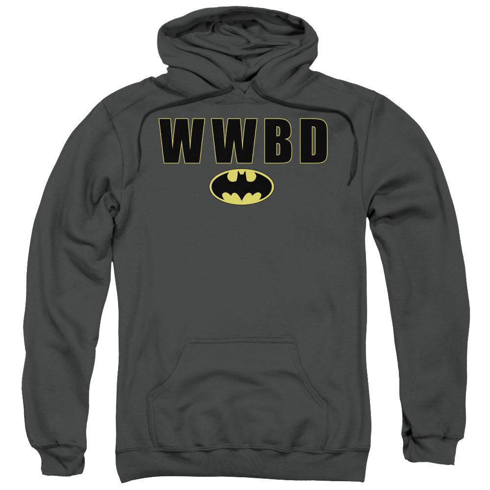 BATMAN/WWBD LOGO-ADULT PULL-OVER HOODIE-CHARCOAL-2X
