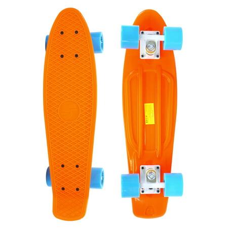 Complete 22 inch Skateboard Plastic Mini Retro Style Cruiser, Orange ()