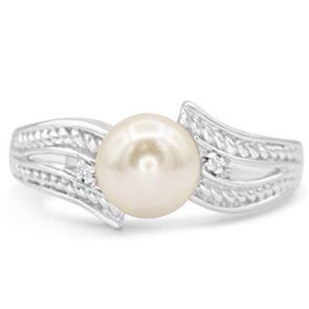 Round Freshwater Cultured Pearl and Diamond Vintage Ring In 14 Karat White Gold Size 8 Vintage Estate 14k Gold Pearl