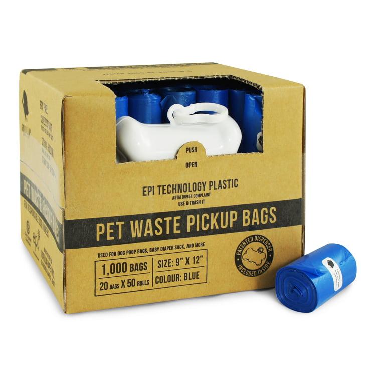 Gorilla Supply 1000 Blue Dog Pet Poop Bags, EPI Technology, 50 Refill Rolls (Free Patented Dispenser)