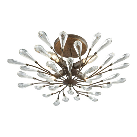 - Semi Flush 4 Light With Sunglow Bronze Finish Clear Crystal Candelabra 22 inch 240 Watts - World of Lamp