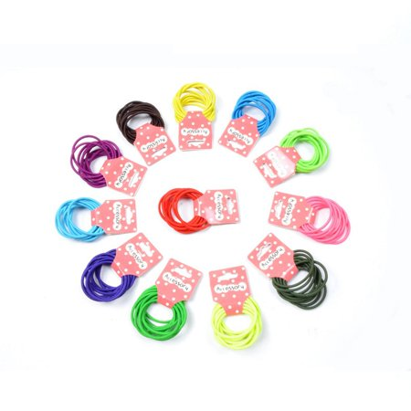 100 Pcs Kids Girl Lady Elastic Rubber Hair Bands Ponytail Holder Head Rope Ties Color:Mixed