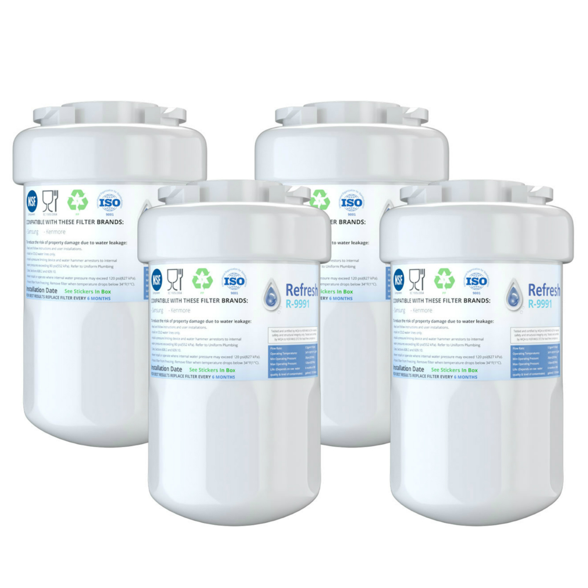 Refresh Replacement for GE MWF SmartWater MWFA MWFP GWF Kenmore 46-9991 Refrigerator Water Filter (4 Pack)