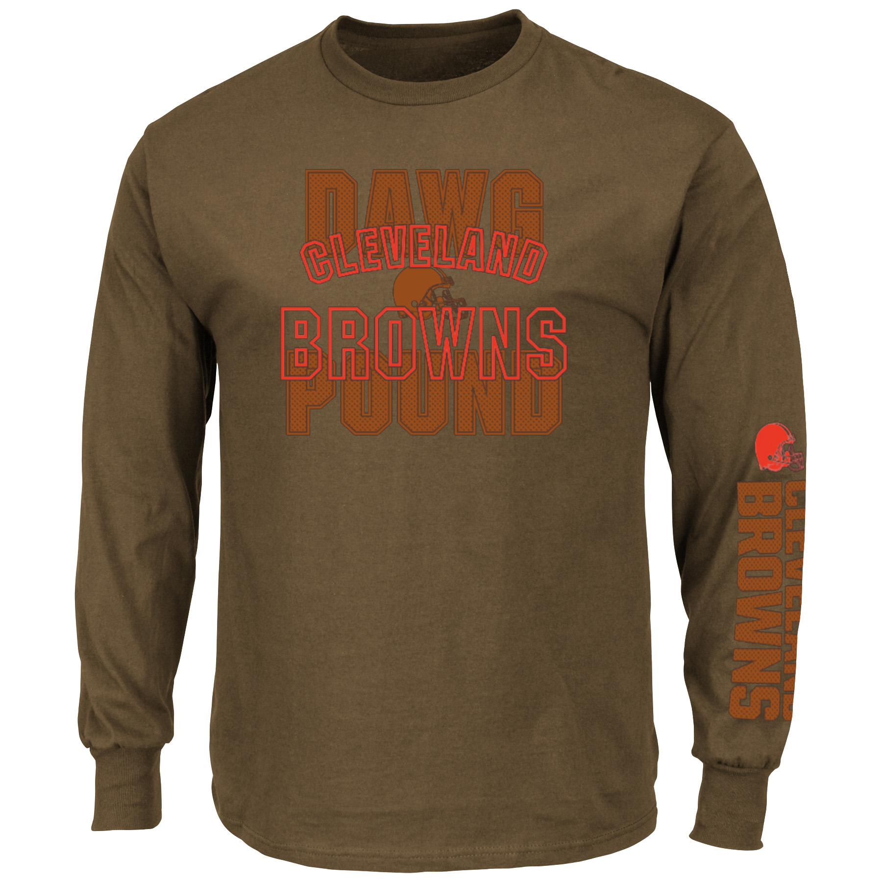 Cleveland Browns Majestic Primary Receiver Slogan Long Sleeve T-Shirt - Brown