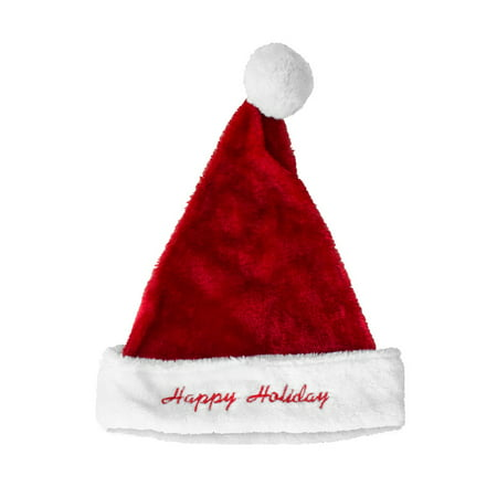 Plush Santa Hat with Happy Holidays Embroider 17 - Happy New Year Hat