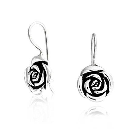 Rose Flower Drop Earrings French Wire For Women Black Antiqued Oxidized .925 Sterling Silver