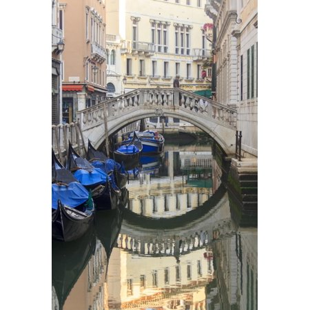 Gondola Parking under Bridge. Venice. Italy Print Wall Art By Tom