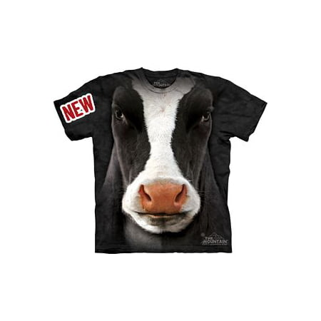 Black Cow Face Adult T-Shirt by The Mountain - 10-3347
