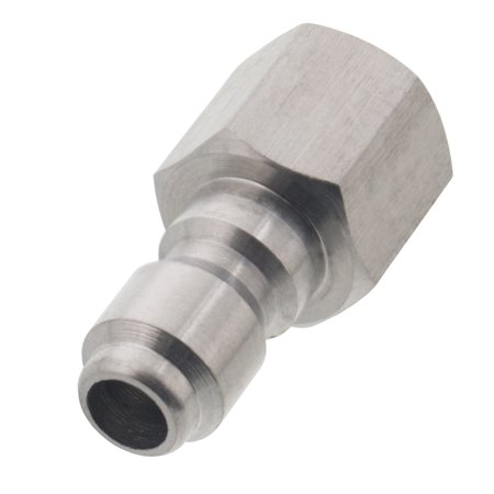 Erie Tools 1/4in. FPT Female Stainless Steel Plug Quick Connect Coupler 5000 PSI 10 GPM for Pressure Washer Gun Hose Wand Nozzle