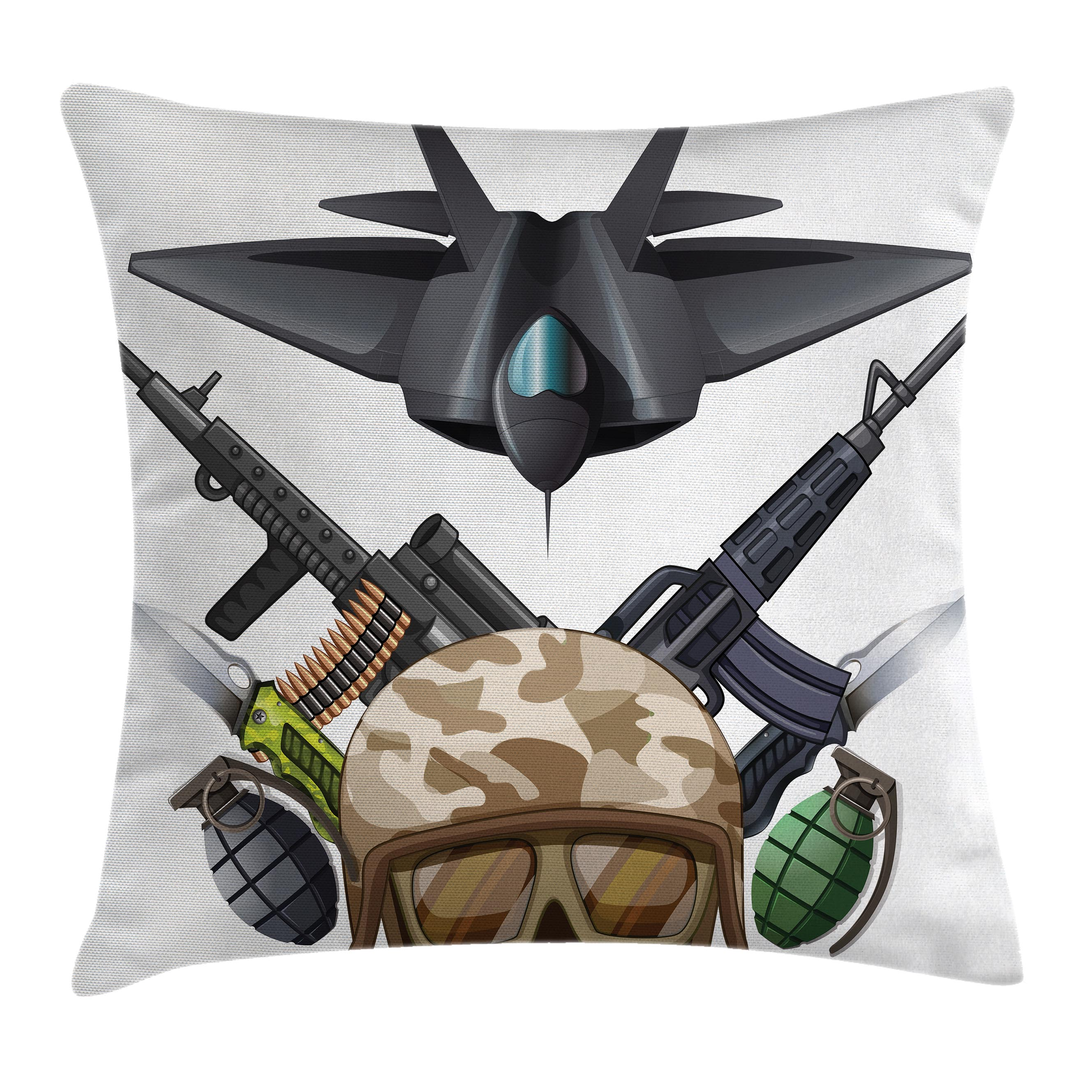 War Home Decor Throw Pillow Cushion Cover, Weapons and Jet Figure Helmet Rifles Knifes Bombs Bullets Ammunition Print, Decorative Square Accent Pillow Case, 16 X 16 Inches, Black Green, by Ambesonne