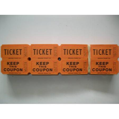 500 Orange 50/50 Double Stub Raffle Tickets, 500 Orange 50/50 Double Stub Raffle Tickets By 50/50 Raffle Tickets Ship from US (Ticket Stub Album)