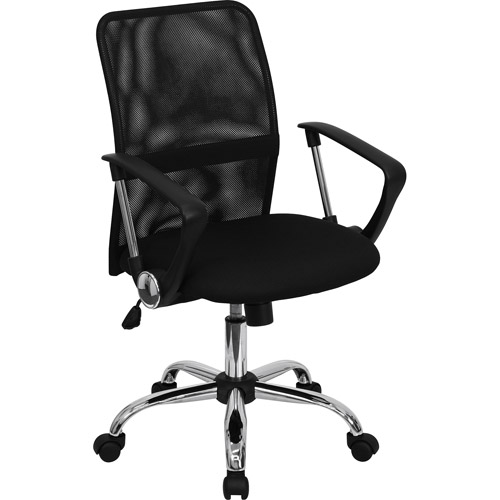 Mesh Computer Task Chair with Chrome Base, Black