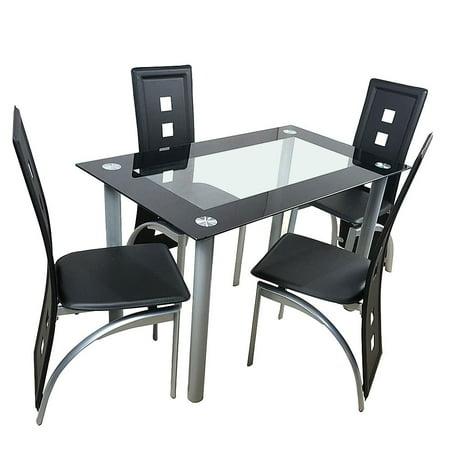 UBesGoo 5 Piece Glass Black Dining Table Set 4 Chairs Room Kitchen Breakfast Furniture