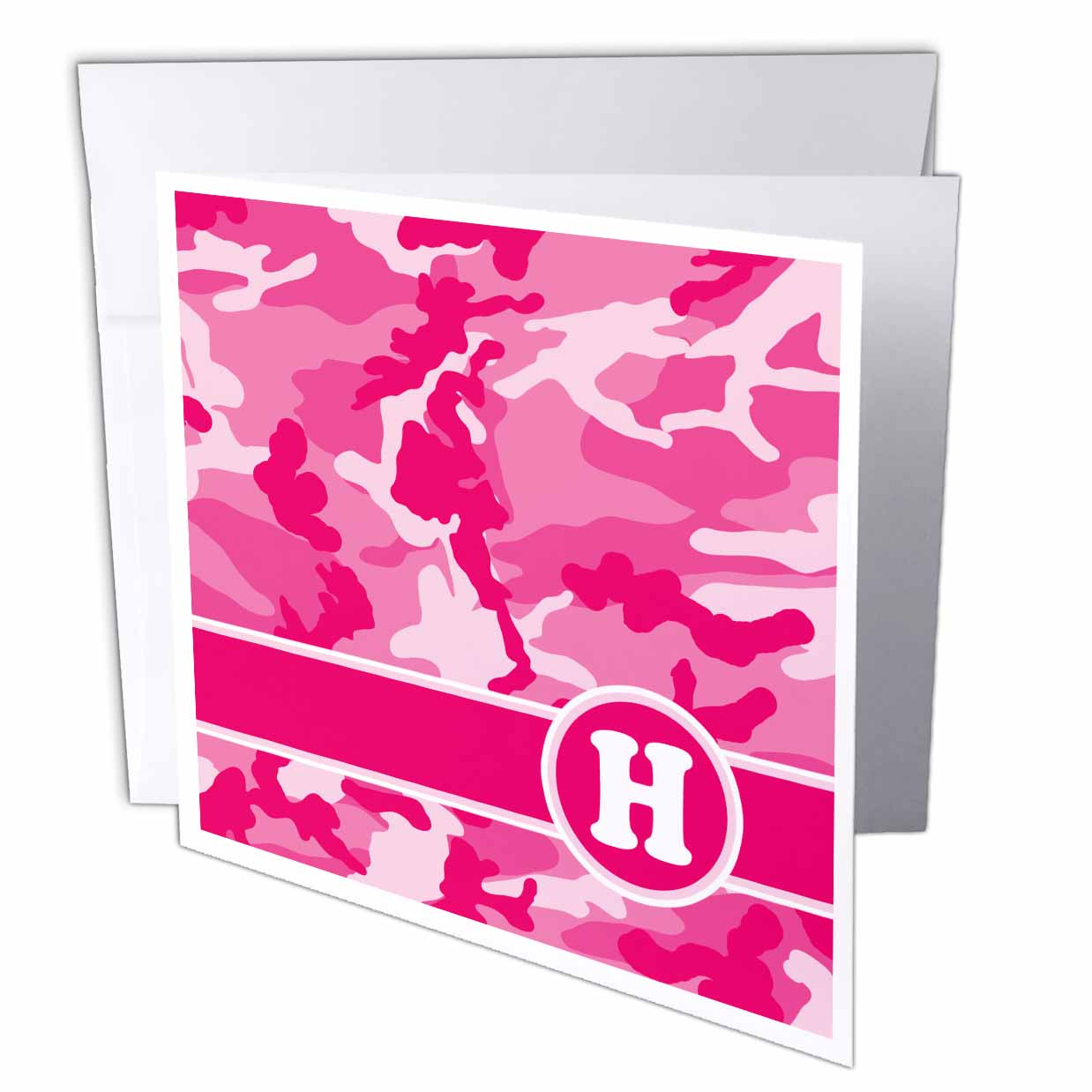 3dRose Cute Pink Camo Camouflage Letter H, Greeting Cards, 6 x 6 inches, set of 12
