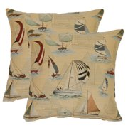 FHT Sailing Blue 17-in Throw Pillows (Set of 2)