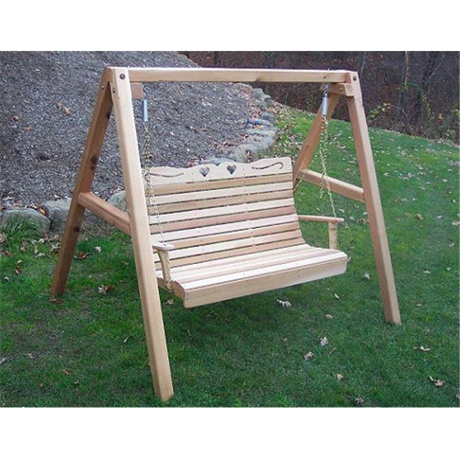Creekvine Designs WF1025A60CVD 6 ft.  Cedar Royal Country Hearts Porch Swing with Stand