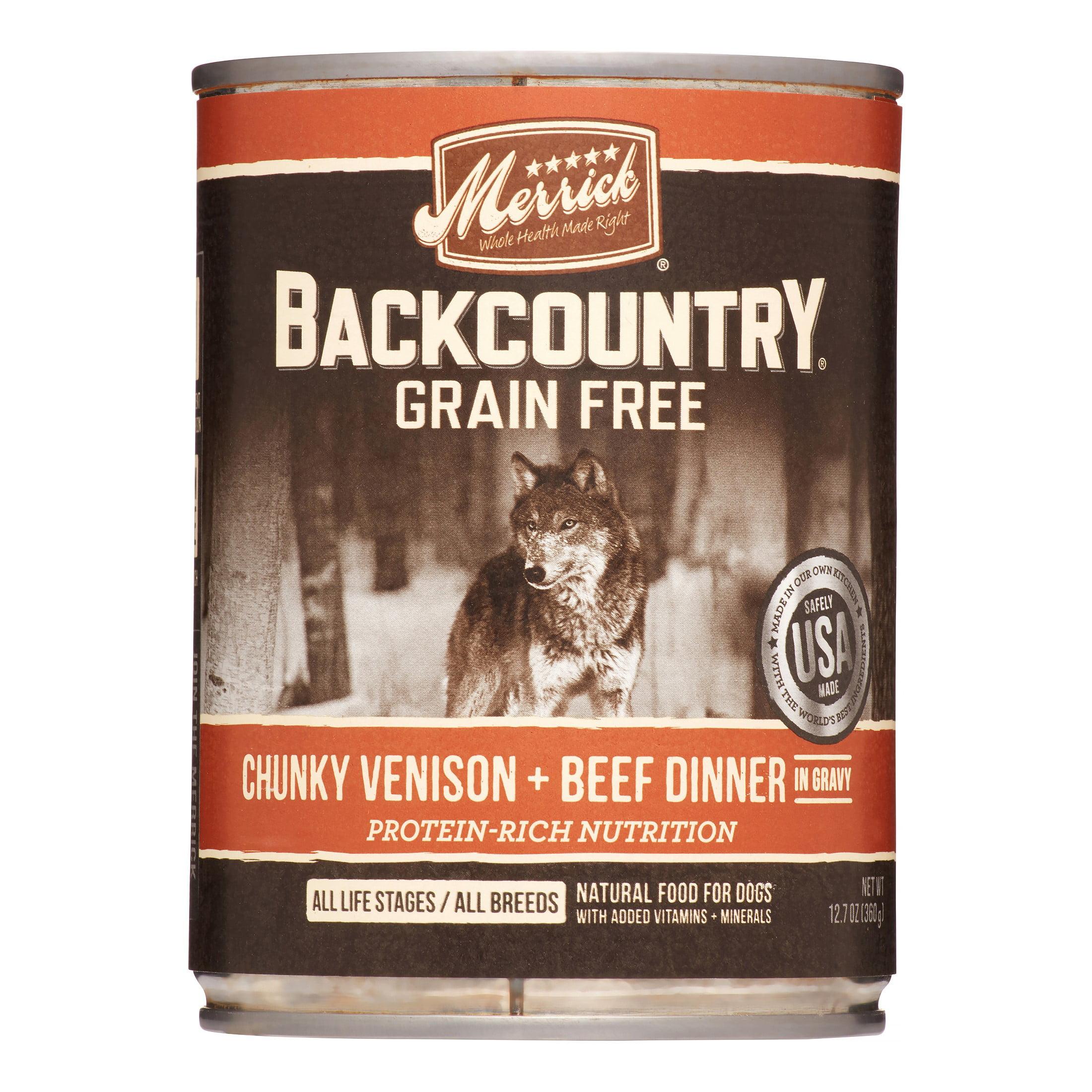 Merrick Backcountry Grain-Free Chunky Venison + Beef Dinner Wet Dog Food, 12.7 oz