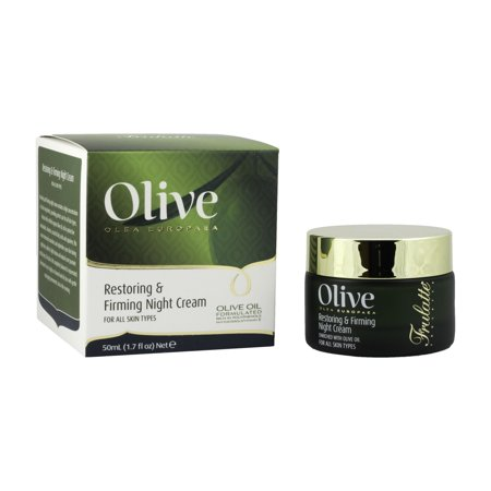 Olive Restoring & Firming Night Cream by Frulatte with Certified Organic Olive Oil for all skin types. 1.7 fl.