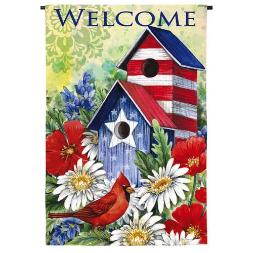 Evergreen Enterprises, Inc Patriotic Birdhouse and Cardinal Garden Flag by Evergreen Enterprises, Inc.