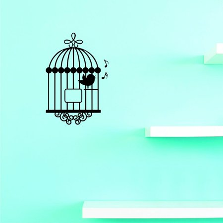 (Custom Decals Bird Cage Wall Art Size: 12 X 18 Inches Color: Black)
