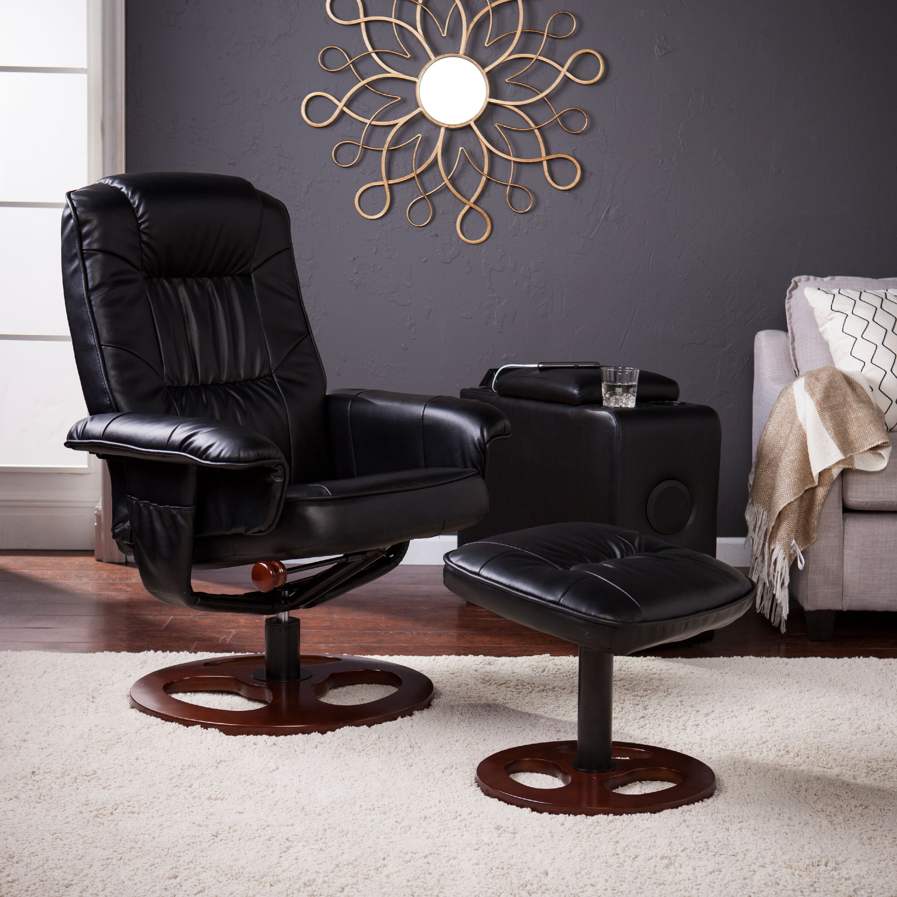 Southern Enterprises Lirrados Faux Leather Swivel Recliner with Ottoman, Black